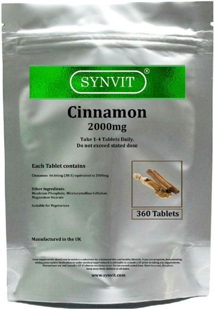 Cinnamon 2000mg x 360/1000 Tablets; Huge Value Bulk Packs; Synvit